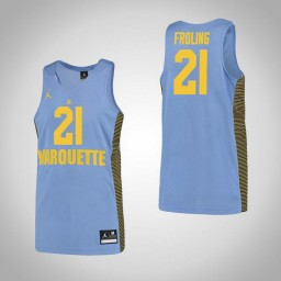 Marquette Golden Eagles #21 Harry Froling Authentic College Basketball Jersey Blue