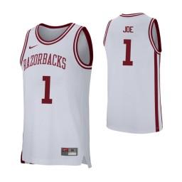 Arkansas Razorbacks #1 Isaiah Joe Authentic College Basketball Jersey White