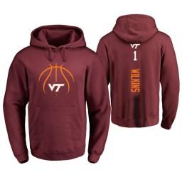 Men's Virginia Tech Hokies #1 Isaiah Wilkins College Basketball Personalized Backer Hoodie Maroon