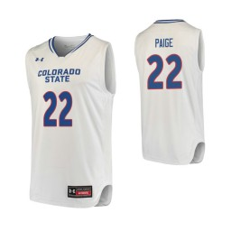 Youth Colorado State Rams #22 J.D. Paige Authentic College Basketball Jersey White