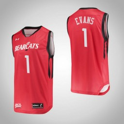 Cincinnati Bearcats #1 Jacob Evans Authentic College Basketball Jersey Red