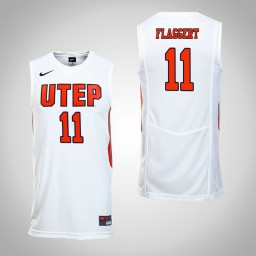 Women's UTEP Miners #11 Jake Flaggert Authentic College Basketball Jersey White