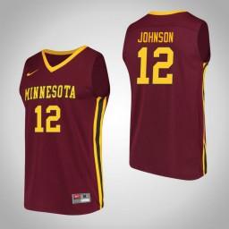 Minnesota Golden Gophers #12 Jarvis Johnson Performance Authentic College Basketball Jersey Maroon