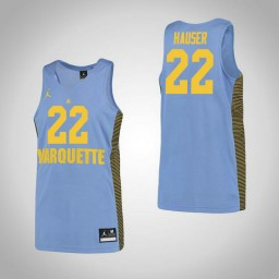 Marquette Golden Eagles #22 Joey Hauser Authentic College Basketball Jersey Blue