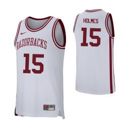 Arkansas Razorbacks #15 Jonathan Holmes Authentic College Basketball Jersey White