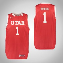 Youth Utah Utes #1 Justin Bibbins Authentic College Basketball Jersey Red