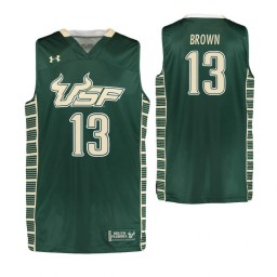South Florida Bulls #13 Justin Brown Authentic College Basketball Jersey Green