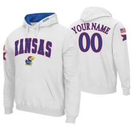 Kansas Jayhawks Custom White Arch and Logo Hoodie