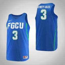 Women's Florida Gulf Coast Eagles #3 Keri Jewett-Giles Authentic College Basketball Jersey Blue