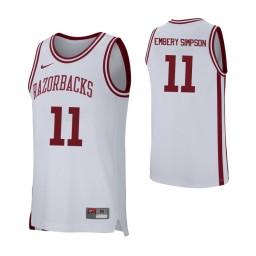 Arkansas Razorbacks #11 Keyshawn Embery-Simpson Authentic College Basketball Jersey White