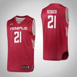 Temple Owls #21 Khadijah Berger Authentic College Basketball Jersey Red