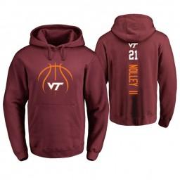Men's Virginia Tech Hokies #21 Landers Nolley II College Basketball Personalized Backer Hoodie Maroon