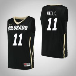 Women's Colorado Buffaloes #11 Lazar Nikolic Authentic College Basketball Jersey Black
