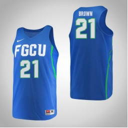 Women's Florida Gulf Coast Eagles #21 Liberty Brown Authentic College Basketball Jersey Blue