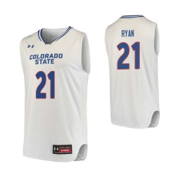 Youth Colorado State Rams #21 Logan Ryan Authentic College Basketball Jersey White
