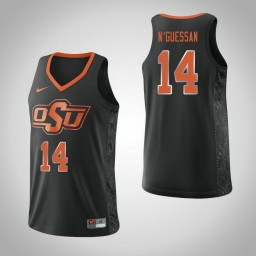 Women's Oklahoma St Cowboys #14 Lucas N'Guessan Authentic College Basketball Jersey Black