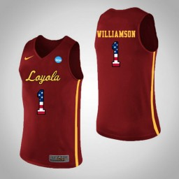 Women's Loyola (Chi) Ramblers #1 Lucas Williamson USA Flag Authentic College Basketball Jersey Red