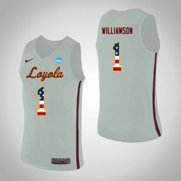 Women's Loyola (Chi) Ramblers #1 Lucas Williamson USA Flag Authentic College Basketball Jersey White