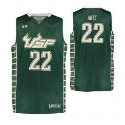 South Florida Bulls #22 Madut Akec Authentic College Basketball Jersey Green