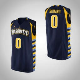 Marquette Golden Eagles #0 Markus Howard Authentic College Basketball Jersey Navy