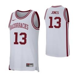 Arkansas Razorbacks #13 Mason Jones Authentic College Basketball Jersey White