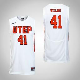 Women's UTEP Miners #41 Matt Willms Authentic College Basketball Jersey White