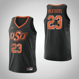 Women's Oklahoma St Cowboys #23 Michael Weathers Authentic College Basketball Jersey Black