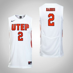 Women's UTEP Miners #2 Omega Harris Authentic College Basketball Jersey White