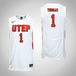 Women's UTEP Miners #1 Paul Thomas Authentic College Basketball Jersey White