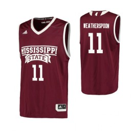Youth Mississippi State Bulldogs #11 Quinndary Weatherspoon Authentic College Basketball Jersey Maroon
