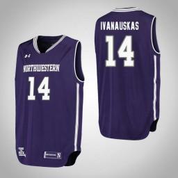 Northwestern Wildcats #14 Rapolas Ivanauskas Performance Authentic College Basketball Jersey Purple