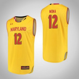 Women's Maryland Terrapins #12 Reese Mona Authentic College Basketball Jersey Yellow