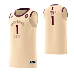 Youth Mississippi State Bulldogs #1 Reggie Perry Harlem Renaissance Authentic College Basketball Jersey Cream