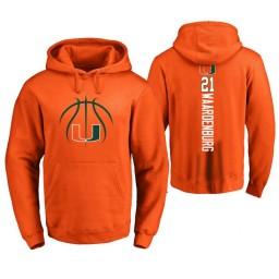 Men's Miami Hurricanes #21 Sam Waardenburg College Basketball Personalized Backer Hoodie Orange