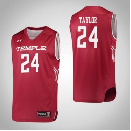 Temple Owls #24 Shantay Taylor Authentic College Basketball Jersey Red