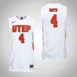 Women's UTEP Miners #4 Tirus Smith Authentic College Basketball Jersey White