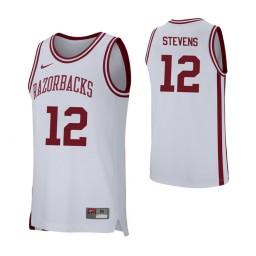 Arkansas Razorbacks #12 Ty Stevens Authentic College Basketball Jersey White