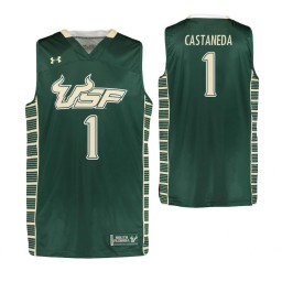 South Florida Bulls #1 Xavier Castaneda Authentic College Basketball Jersey Green