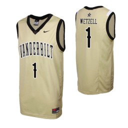 Youth Vanderbilt Commodores #1 Yanni Wetzell Gold Authentic College Basketball Jersey