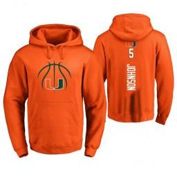 Men's Miami Hurricanes #5 Zach Johnson College Basketball Personalized Backer Hoodie Orange