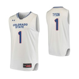 Youth Colorado State Rams #1 Zo Tyson Authentic College Basketball Jersey White
