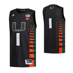 Miami Hurricanes #1 Basketball Authentic College Basketball Jersey Black