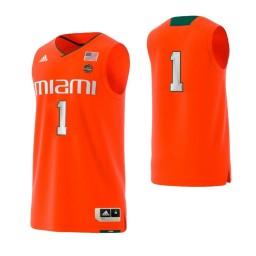 Miami Hurricanes #1 Basketball Adidas Authentic College Basketball Jersey Orange