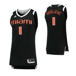 Youth Miami Hurricanes #1 Dejan Vasiljevic Black White Authentic College Basketball Jersey