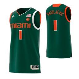 Youth Miami Hurricanes #1 Dejan Vasiljevic Authentic College Basketball Jersey Green