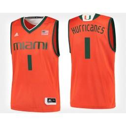 Miami Hurricanes NO. 1 Orange Home Authentic College Basketball Jersey