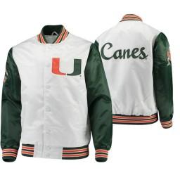 Miami Hurricanes White Green The Legend Full-Snap Jacket