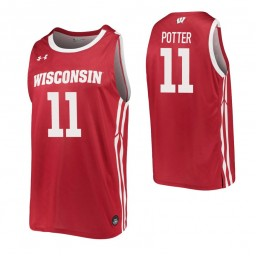 Micah Potter Authentic College Basketball Jersey Red Wisconsin Badgers
