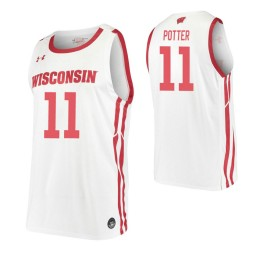 Micah Potter Authentic College Basketball Jersey White Wisconsin Badgers