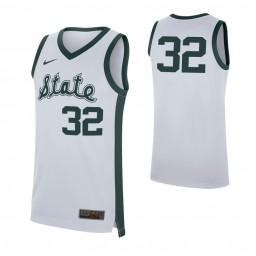 Michigan State Spartans #32 Retro Authentic College Basketball Jersey White